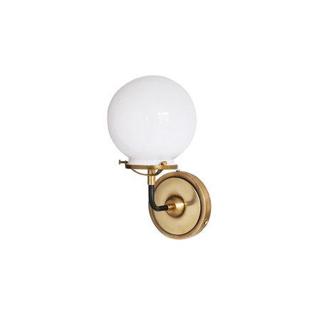 French Bistro Single Sconce w/ White Glass in Antique Brass and Bronze