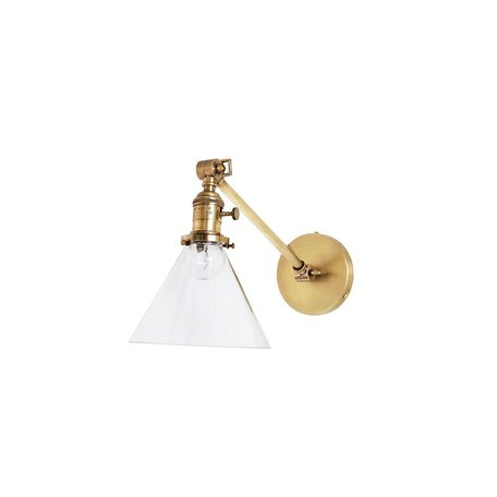 Jamestown Single Long Arm Wall Sconce w/ Tapered Clear Glass Shade in Antique Brass