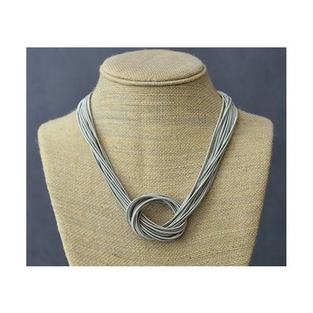 Large Knot Piano Wire Necklace in Silver
