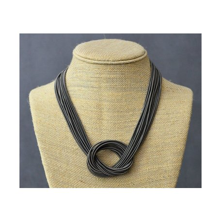 Large Knot Piano Wire Necklace in Slate