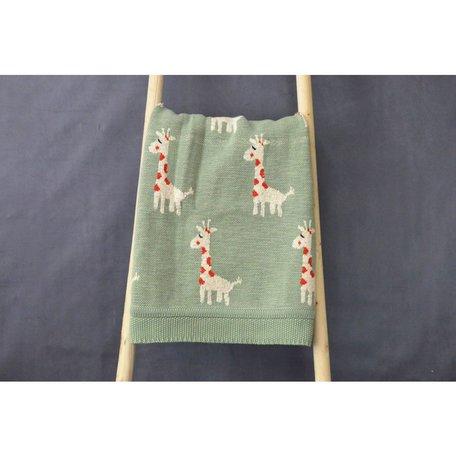 Cotton Knit Giraffe Blanket