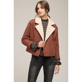Moon River Shearling Moto Jacket