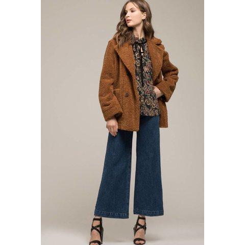 Reversible Notched Collar Fleece Coat