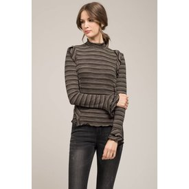 Moon River Ruffle Sleeve Mock Neck Top