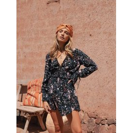 kivari Willow Floral Longsleeve Mini Dress Black Cherry Blossom