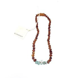 CanyonLeaf Raw Cognac Amber + Amazonite: 13""
