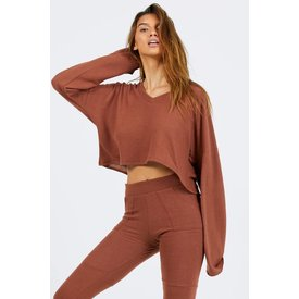 Joah Brown Paris Crop Long Sleeve Rust Hacci