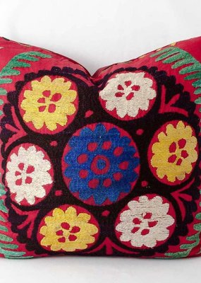 "Vintage Suzani Pillow 15""x16"""