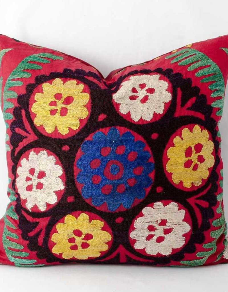 "Vintage Suzani Pillow 15""x16"""