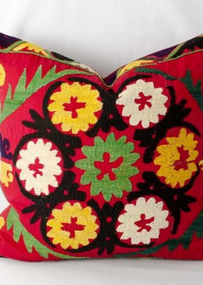 Vintage Suzani Pillow Green Center