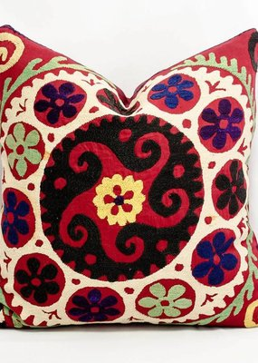 Silk Embroidered Suzani Pillow