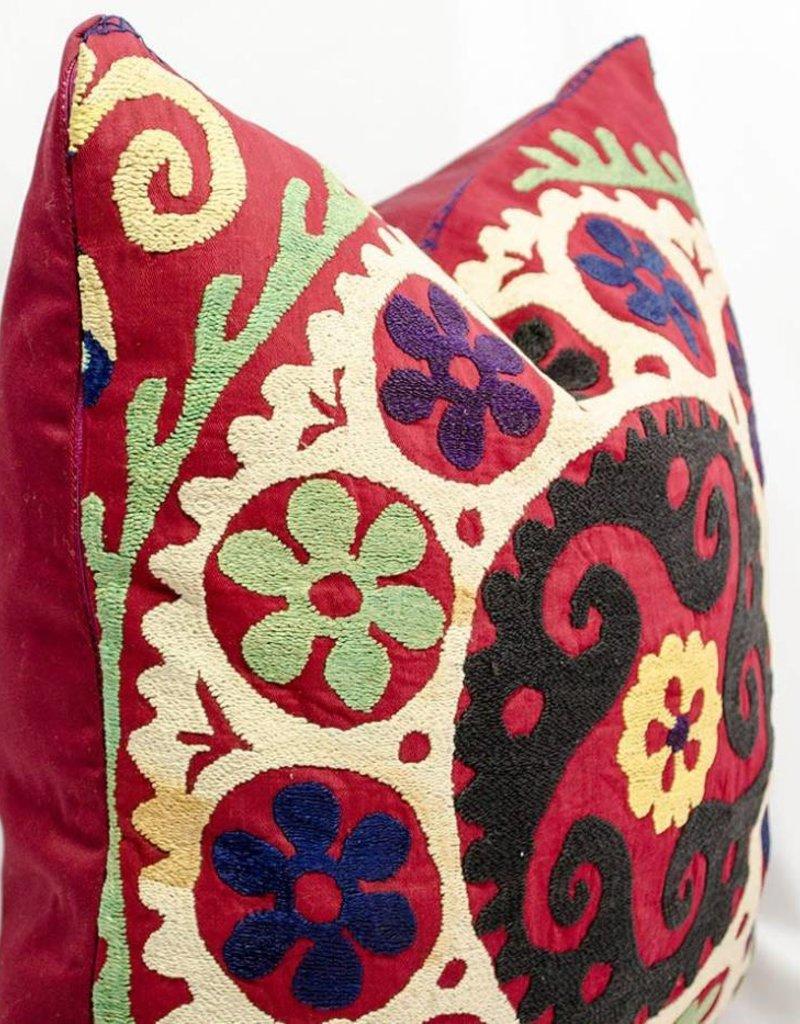 Silk Embroidered Suzani Pillow