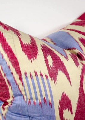 Red & Cream Ikat Pillow