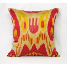 "Red, Yellow & Green ikat Pillow 14""x14"""