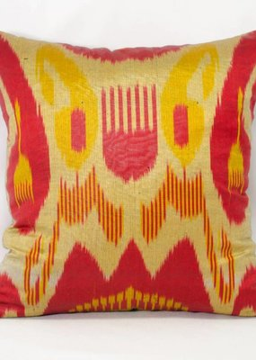 "Red, Yellow & Green ikat Pillow 14""x14"""
