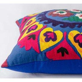 "Blue Vintage suzani pillow cover 19""x19"""