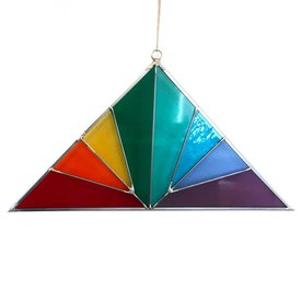 Large Triangle Stained Glass Rainbow
