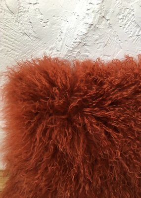 Burnt Orange Shag Pillow