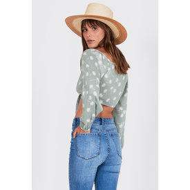 Amuse Society Lorena Woven Top Palm Green