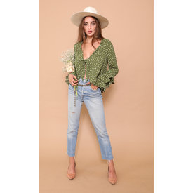 East N' West Label Gwyneth Top Olivia Polka Dot Green
