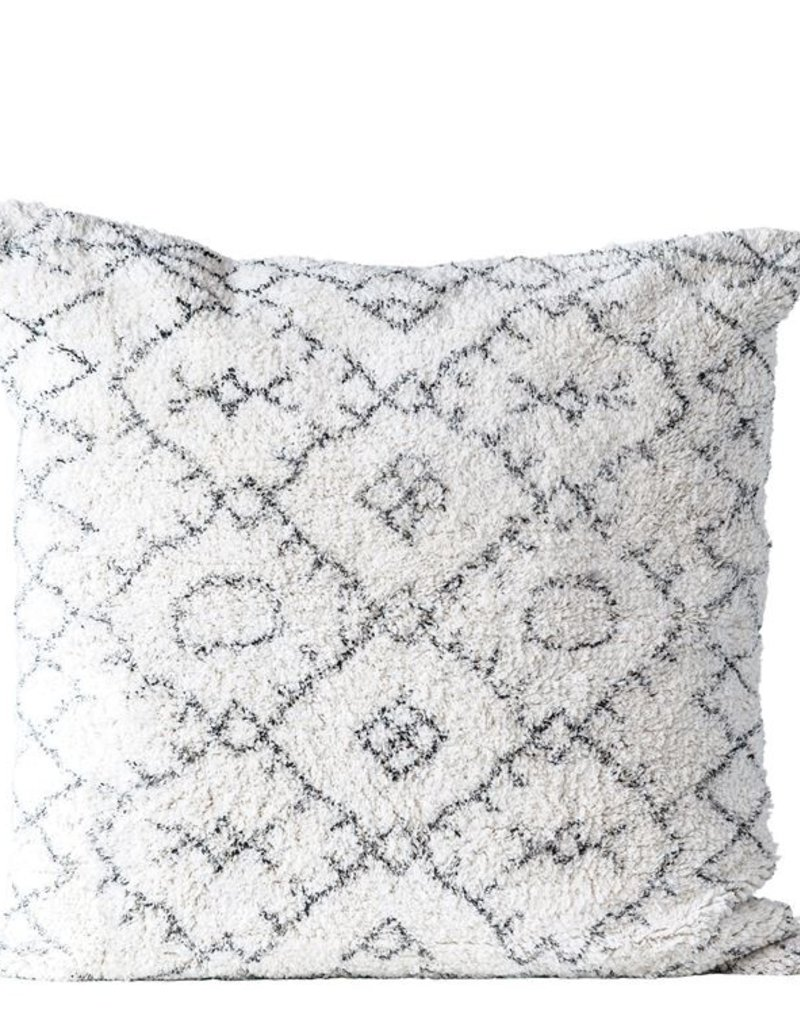 "MR Home 30"" Square Cotton Tufted Pillow, Natural & Black"