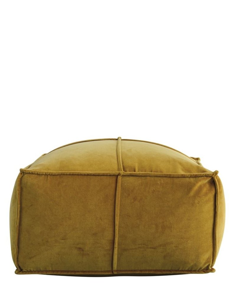 "MR Home 24"" Square x 12""H Cotton Velvet Pouf, Goldenrod"