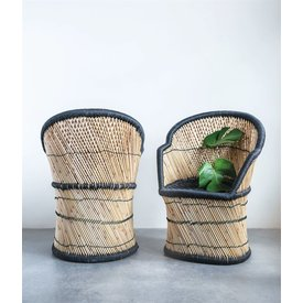 MR Home Hand-Woven Bamboo & Black Rope Chair