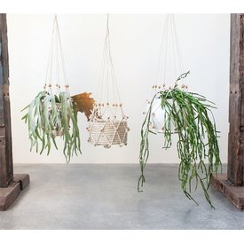 MR Home Macrame Plant Hanger w/ Wood Beads