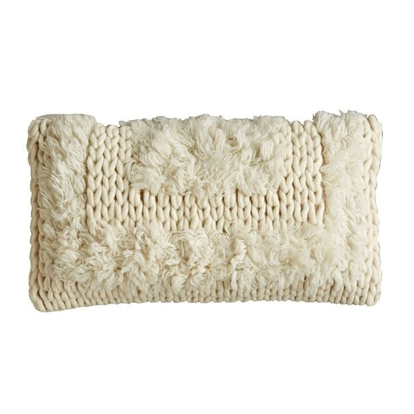 Wool Cable Knit Pillow, Natural