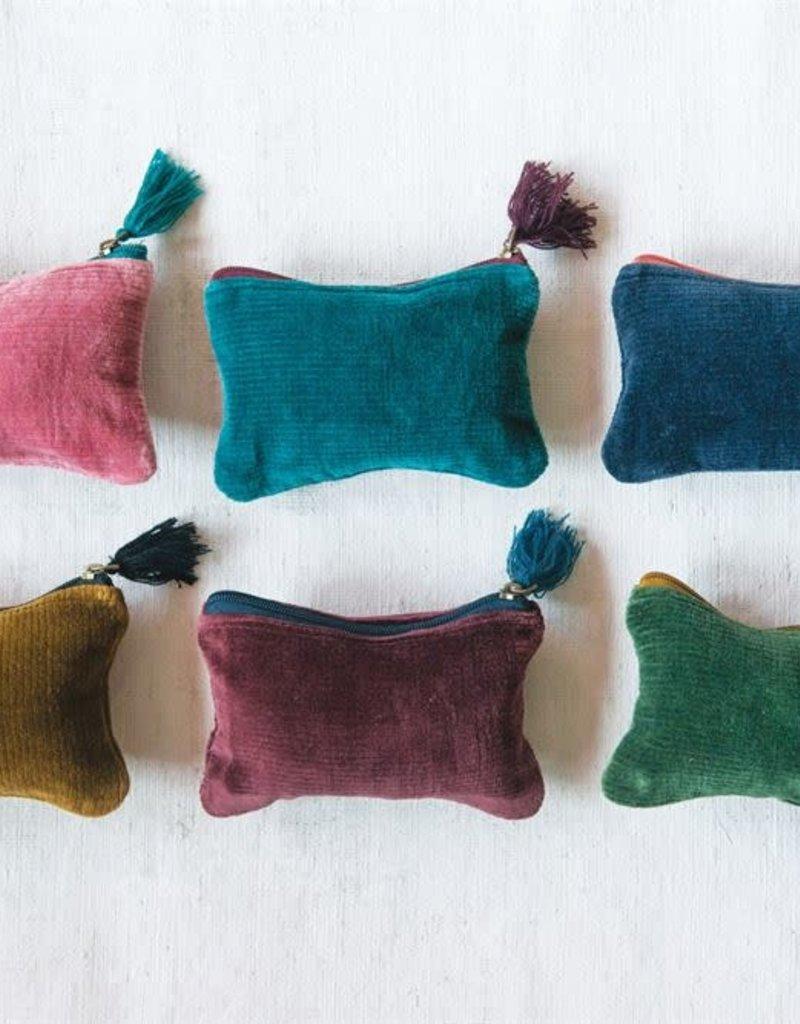 MR Home Cotton Velvet Corduroy Zip Pouch w/ Tassel