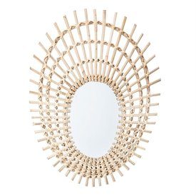 "Bloomingville 20""L Round Rattan Mirror"