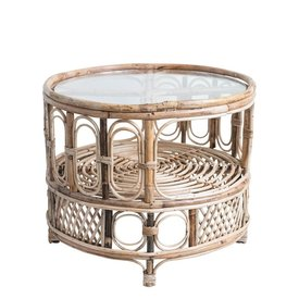 Bloomingville Round Bamboo Table w Glass