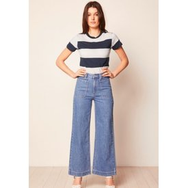 Rollas Big Stripe Tee Vanilla and Navy