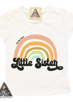 Pine Torch Little Sister Retro Rainbow Tee
