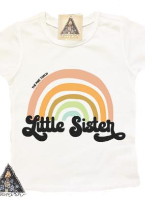 Pine Torch Little Sister Retro Rainbow Tee