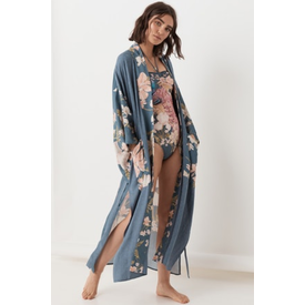 Spell and the Gypsy Collective Waterfall Maxi Kimono - Deep Blue