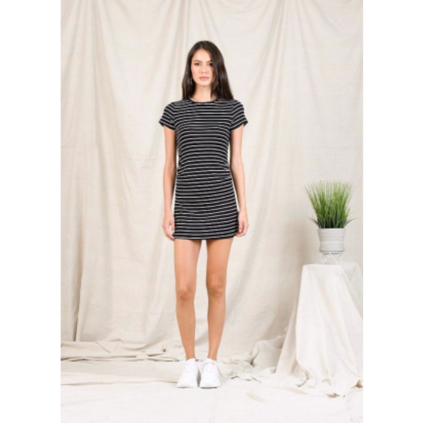 NYTT Aaron Mini Dress B&W Stripe