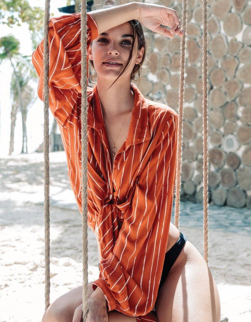 kivari Rust Stripe Coco Tie Up Blouse