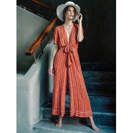 kivari Rust Stripe Coco Tie Up Jumpsuit