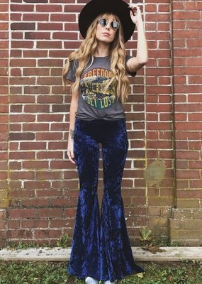 LIFE Clothing Navy Crushed Velvet bells