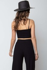 Stillwater LA The Flirt Rib Crop Tank in Black