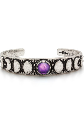 Hiouchi Jewels MOON PHASES CUFF BRACELET - Amethyst