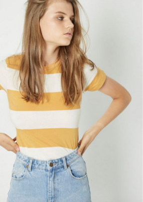 Rollas Big Stripe Tee Gold