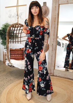 kivari Zinnia Bloom Flare Pants Black