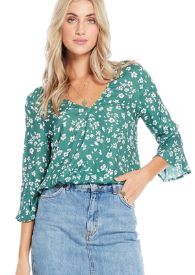 Saltwater Luxe Reversible Blouse Evergreen