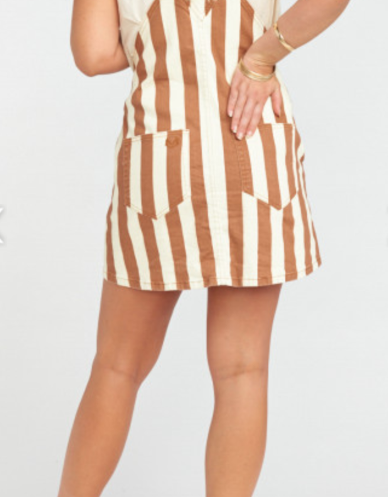 Show Me Your Mumu Julie Overall Dress Cognac Stripe