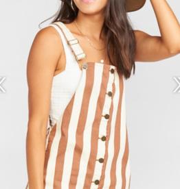 Show Me Your Mumu Julie Overall Dress Cognac Stripe