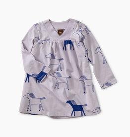 Tea Collection Highland Print Wrap Neck Baby Dress