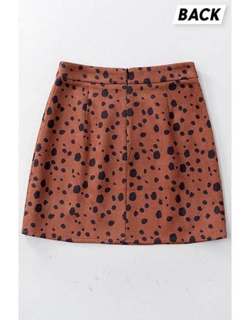 Akaiv Cow Polka Dot Slit Skirt