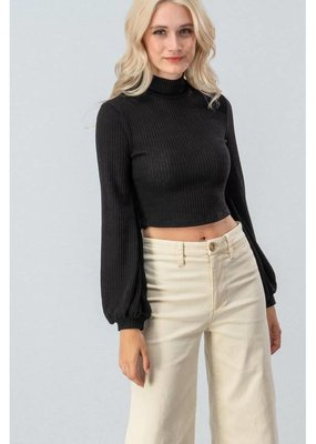 FAVLUX Ribbed Turtle Neck Crop Top